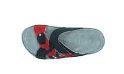 Usnjeni natikači art. 160 črna rdeča